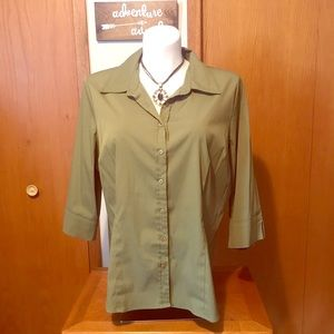 Olive button up stretchy dress shirt